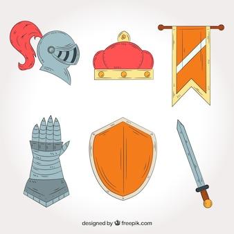 Accesori medievali con stile disegnato a mano