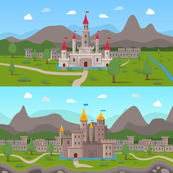Medieval ancient castles compositions