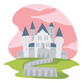 분홍색 구름이 있는 중세 건축, 고립된 동화 성 또는 탑이 있는 요새. 신비한 거주지 또는 여왕과 왕의 왕국. 이상한 나라의 저택. 평면 스타일 그림에서 벡터