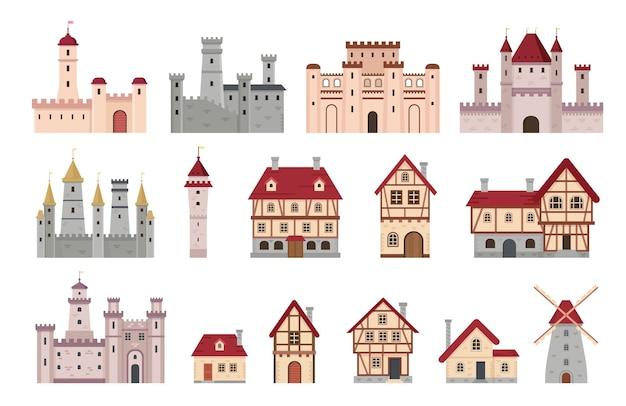 Средневековые постройки. древний европейский городок и деревенский дом, коттедж и ветряная мельница. мультяшная башня, замок и дворец. набор векторных архитектуры деревни средневековый, европейский фасад дома