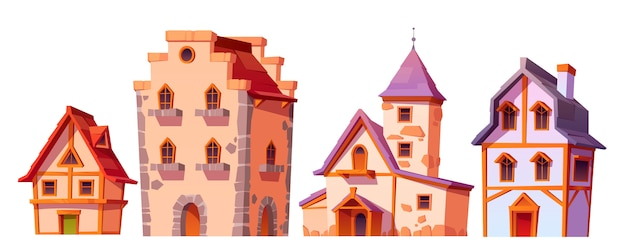 Medieval buildings, house town architecture set