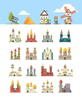 Medieval buildings. kingdom ancient construction castles houses rock walls wellness well construction. illustration castle and citadel, building medieval collection