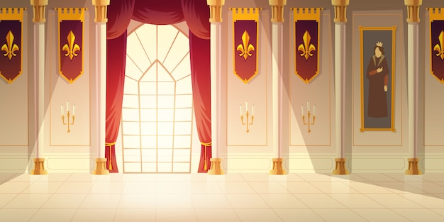 Medieval castle ballroom, historical museum hall cartoon vector background. shiny tiled floor, red curtains on big window, high columns, flags with heraldic emblem and tapestry on walls illustration