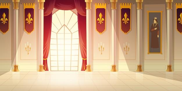 Средневековый замок бальный зал, исторический музей зал мультфильм векторный фон. блестящий плиточный пол, красные шторы на большом окне, высокие колонны, флаги с геральдической эмблемой и гобелен на стенах.