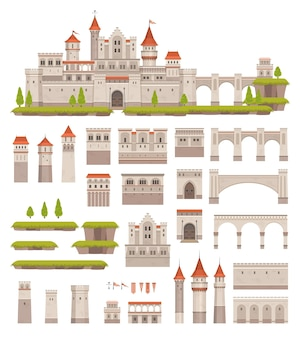 Medieval castle constructor, kids game. cartoon vector palace architecture elements towers, gates, stronghold and flags, green plants and land. fairytale or historical royal building isolated kit