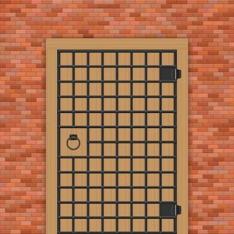 Medieval castle door with steel bars  illustration