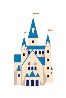 중세 성 평면 벡터 일러스트 레이 션. 만화 동화 요새입니다. 공주 거주지, 왕궁 흰색 배경에 고립. 타워, 건물 외관, 역사적인 건축물이 있는 요새.