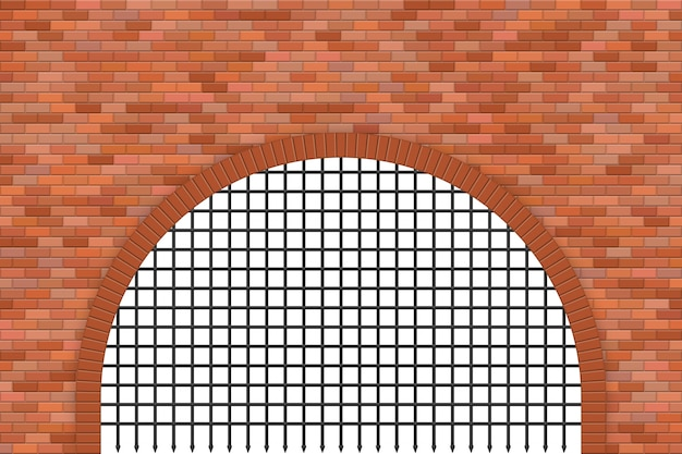 Medieval castle gate and brick wall  illustration