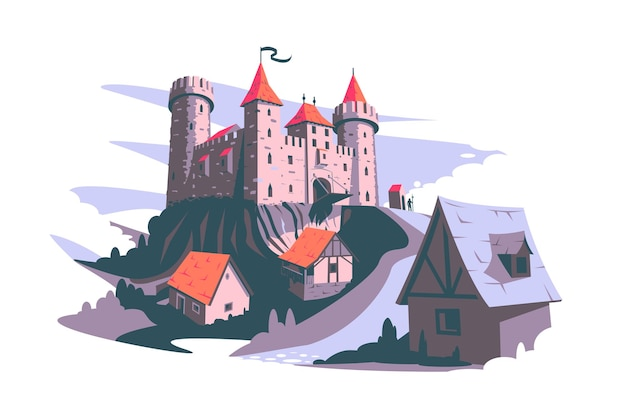 Medieval castle on hill vector illustration tower building architecture ancient history flat style middle ages art and history concept isolated