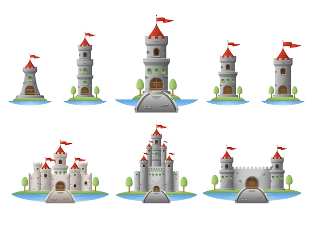 Medieval castle   illustration isolated on white background