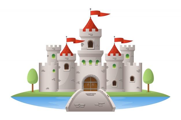 Иллюстрация средневекового замка на белом фоне