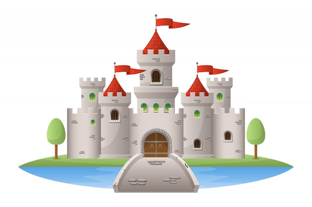Medieval castle   illustration  on white background