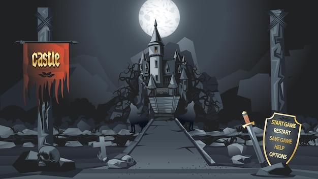 夜の山の中の中世の城