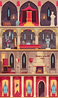 Medieval castle interior 4 flat banners set with dining hall ballroom throne room chambers isolated