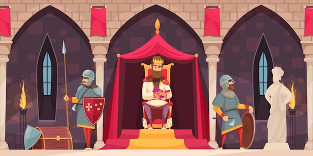 Medieval castle interior flat cartoon composition with king throne armed knight coat of arms guard