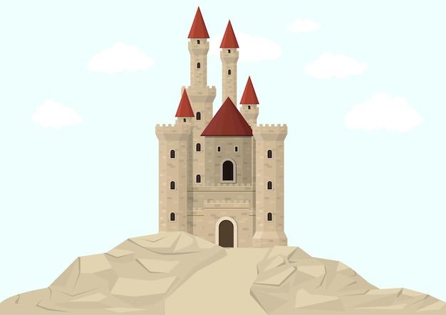 Средневековый замок на белом фоне.