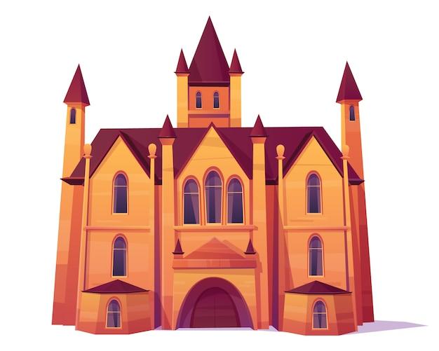 중세 성, 고급 빌라, 빅토리아 건축 스타일 만화 벡터 저택.