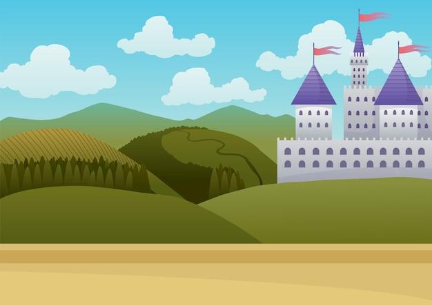 青空を背景にした中世の城。漫画中世の歴史的時代。石造りの城の中世の建築。
