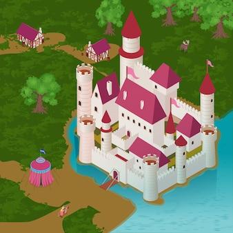 Средневековый замок на берегу реки с королевской палаткой рыцаря на коне дома горожан изометрии
