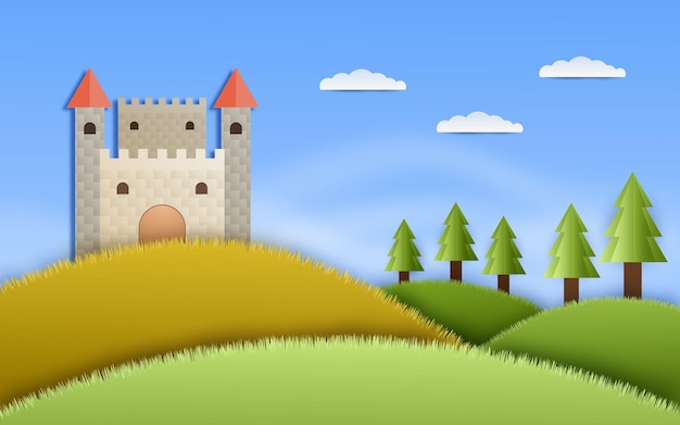 Medieval castle in papercut style