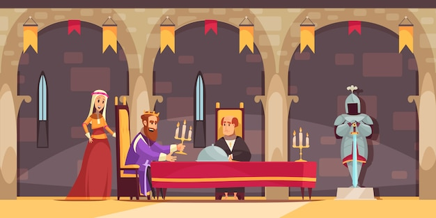 Medieval castle royal dining hall area interior flat cartoon composition with king being served meal