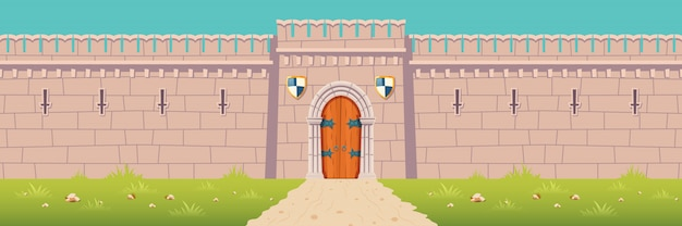 Medieval castle, town fortress wall cartoon illustration