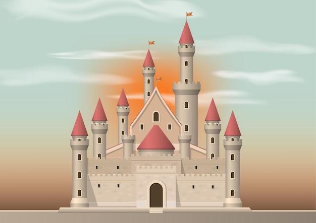背景に夕日と中世の城。