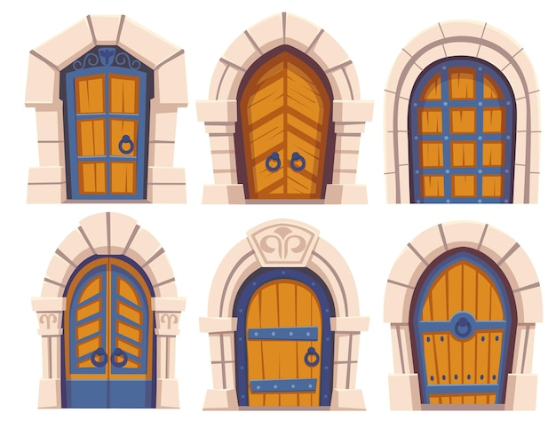 Medieval castle wooden doors and stone archs