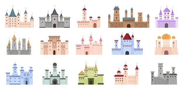 中世の城。おとぎ話のような建物、要塞、王宮。塔のある平らな古代ゴシック建築。漫画の城のベクトルを設定します。コレクションの天守閣、古代の要塞建築