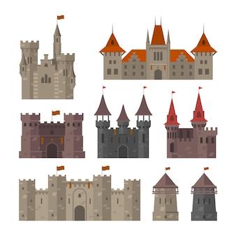 Средневековые замки, крепости и твердыни с крепостной стеной и башнями
