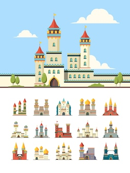 Medieval castles. old palazzo building hill towers  flat illustration.