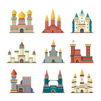 Medieval castles. palace tower fairytale constructions cartoon buildings flat castles pictures
