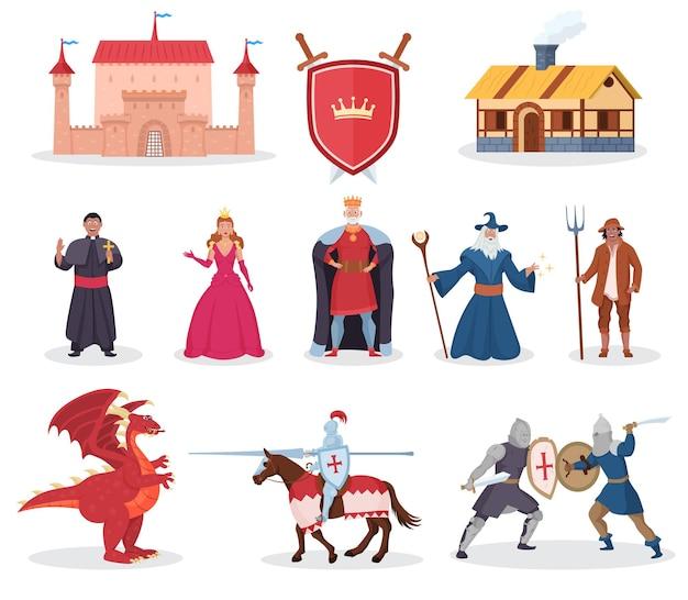 中世のキャラクター、ファンタジードラゴン、中世の建物。騎士の戦士、女王、王女と王、おとぎ話と物語の伝説のベクトル図の魔術師は白い背景で隔離