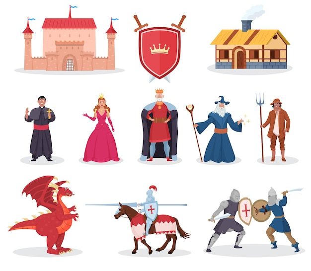 Medieval character, fantasy dragon and middle age building. knight warrior, queen, princess and king, magician person for fairytale and story legend vector illustration isolated on white background
