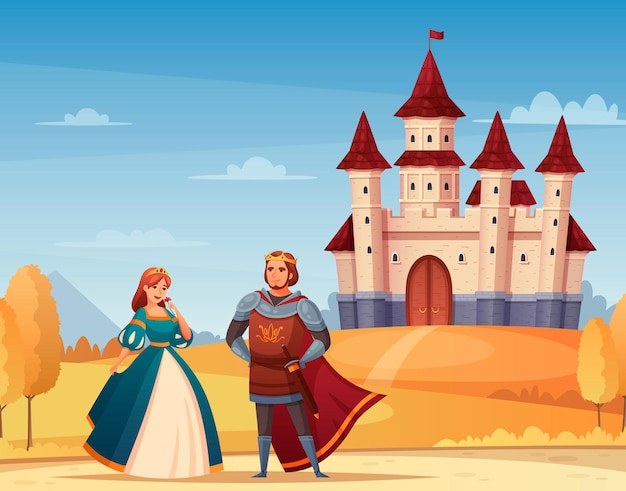 Medieval characters  cartoon with castle king and queen  illustration,