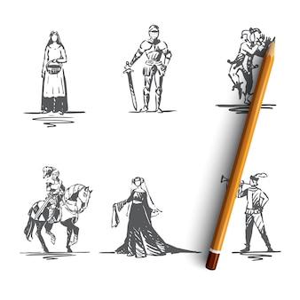 Средневековые персонажи рисованной иллюстрации