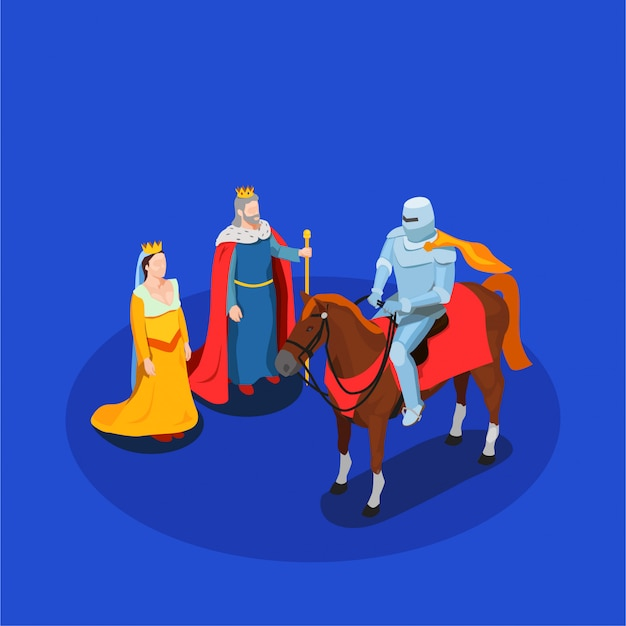 Medieval chivalry isometric composition