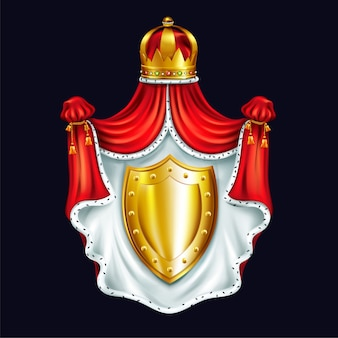 Medieval coat of arms, heraldic emblem with royal crown, red ceremonial canopy