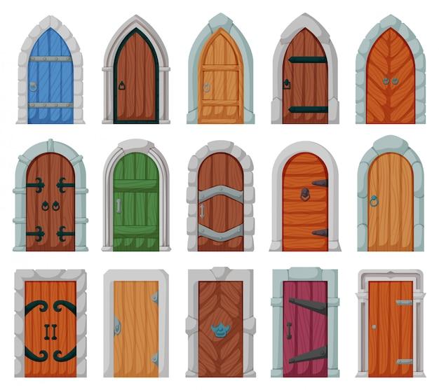 Средневековая дверь мультфильм установить значок. двери замка иллюстрации на белом фоне. изолированные мультфильм установить значок средневековая дверь.