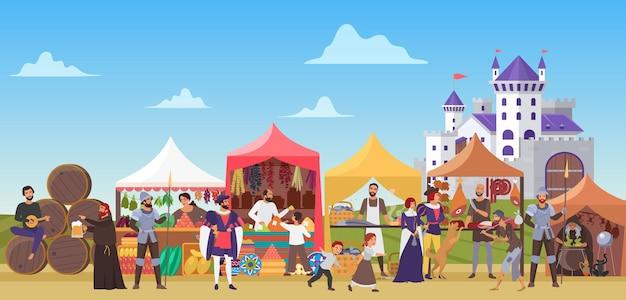 Средневековая ярмарка, сказочный рынок средневековья с людьми из древнего города и замком на заднем плане