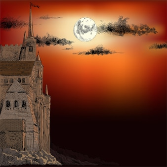A medieval fairy-tale castle on a stone cliff against a bright moon and clouds.