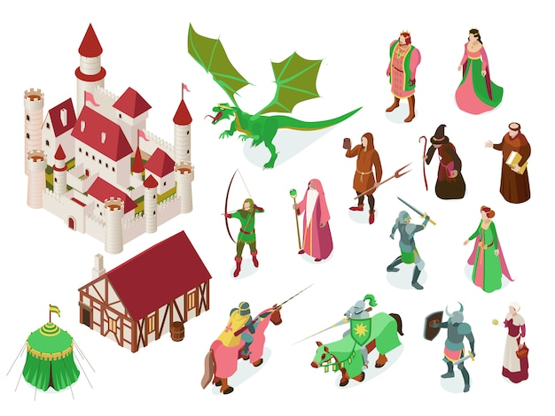Medieval fairy tale isometric set with royal castle knights priest witch and dragon isolated