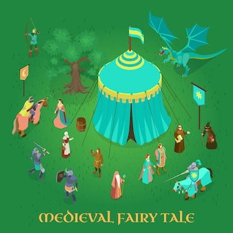 Medieval fairy tale with royal couple princess knights and dragon on green