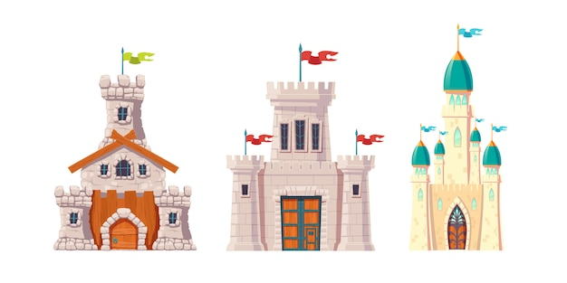 Medieval fairytale castles cartoon vector set