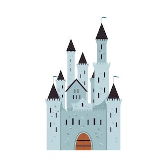 Средневековый фантастический замок с башнями и флагами