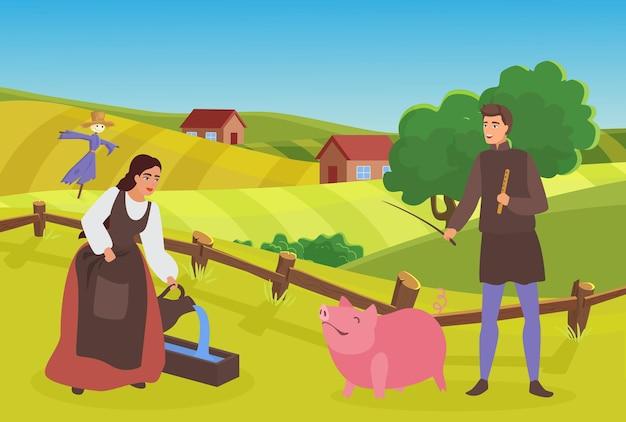 Средневековые фермерские семьи или пара людей работают в деревне, пасущие пасущие свиньи крестьяне