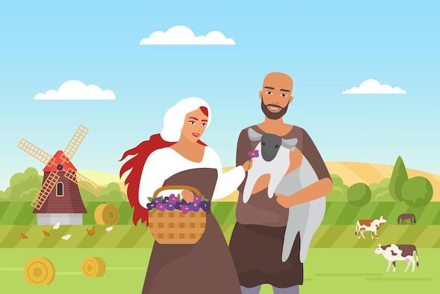 Средневековые фермеры и зеленые поля фермы пейзаж счастливая семья крестьян, стоящая вместе