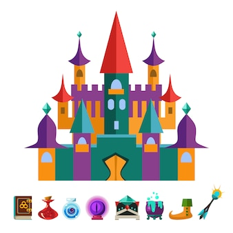 Medieval fortress and elements for gamesflat illustration
