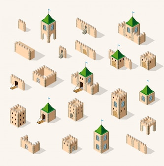 Medieval fortress fort. isometric view