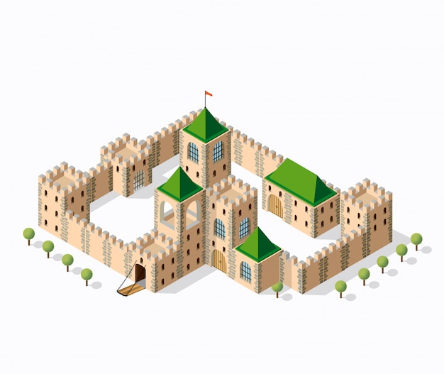 Medieval fortress fort. isometric  vintage